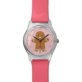 Hombre de pan de jengibre lindo y feliz para el relojes de pulsera