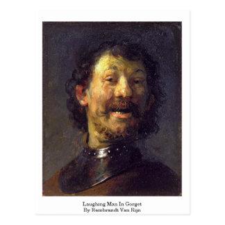 Hombre de risa en Gorget de Rembrandt Van Rijn Postal
