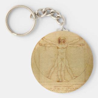 Hombre de Vitruvian de da Vinci Llavero Redondo Tipo Chapa