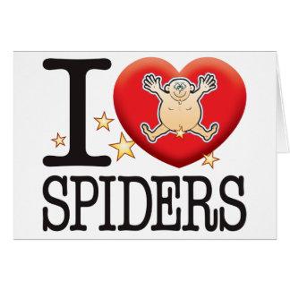 Hombre del amor de las arañas tarjeta de felicitación