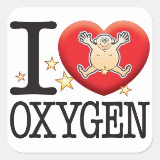 Hombre del amor del oxígeno pegatina cuadrada