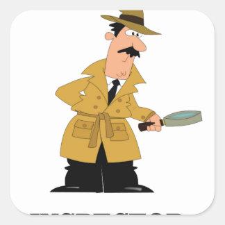 hombre del inspector pegatina cuadrada
