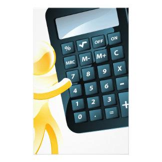 Hombre del oro que sostiene la calculadora papelería personalizada