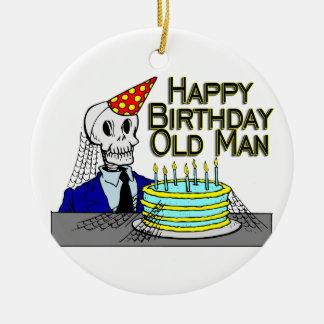 Hombre del Web de araña del feliz cumpleaños viejo Adorno Redondo De Cerámica