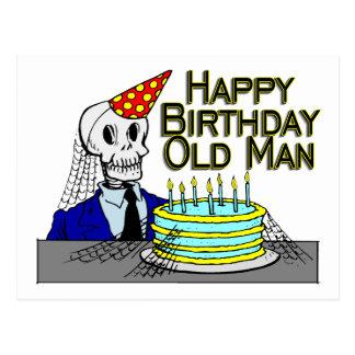 Hombre del Web de araña del feliz cumpleaños viejo Postal
