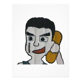 Hombre en el teléfono tarjetones