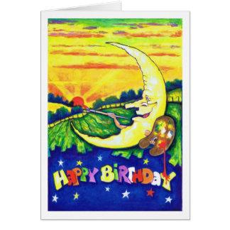 Hombre en la tarjeta de cumpleaños de la pintura d