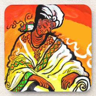 Hombre etíope en té de colada del turbante posavasos de bebidas