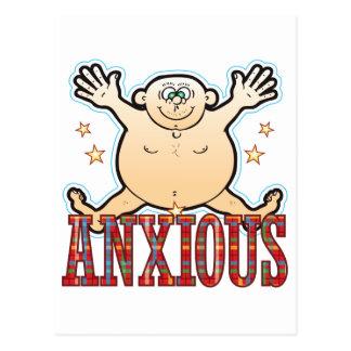 Hombre gordo ansioso postal