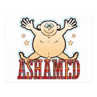 Hombre gordo avergonzado postal