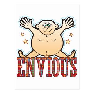 Hombre gordo envidioso postal