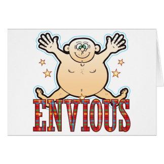 Hombre gordo envidioso tarjeta de felicitación