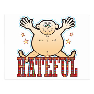 Hombre gordo odioso postal