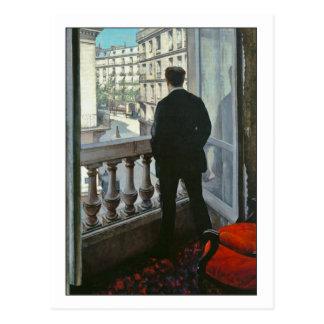 Hombre joven en la ventana de Gustave Caillebotte Tarjeta Postal
