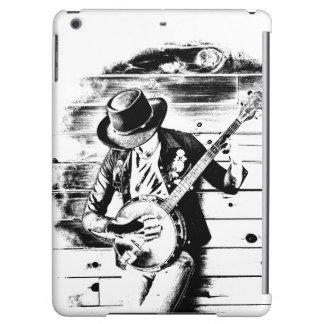 Hombre negro y blanco del banjo - caja del aire