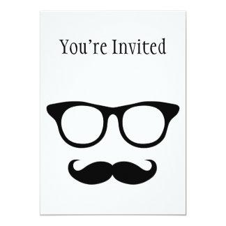 Hombre Nerdy del bigote Invitación 12,7 X 17,8 Cm