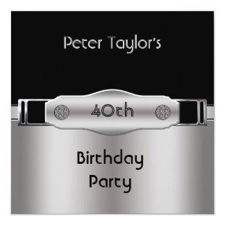 Hombre para hombre del cumpleaños de la plata del invitación 13,3 cm x 13,3cm