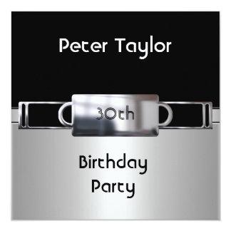 Hombre para hombre del cumpleaños de la plata del invitación