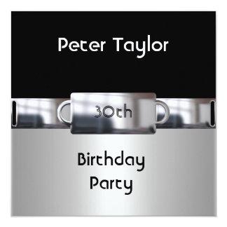 Hombre para hombre del cumpleaños de la plata del invitaciones personalizada