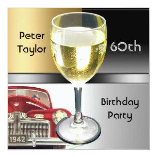 Hombre para hombre del cumpleaños del coche rojo invitación 13,3 cm x 13,3cm