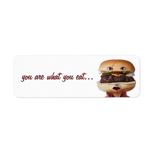 Hombre principal de la hamburguesa sobre blanco etiquetas de remite