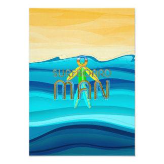 Hombre SUPERIOR de la tabla hawaiana Invitación 12,7 X 17,8 Cm
