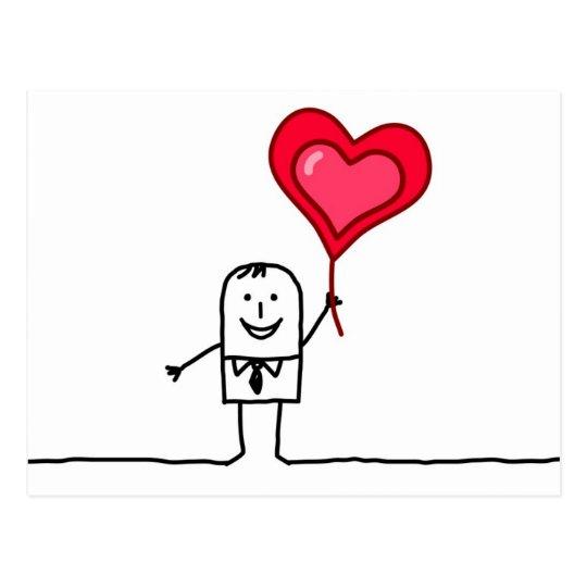 Hombre y corazón postal