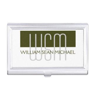 Hombres blancos verdes cones monograma masculinos cajas de tarjetas de visita