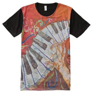 Hombres de dedos locos del piano por todo la camiseta con estampado integral