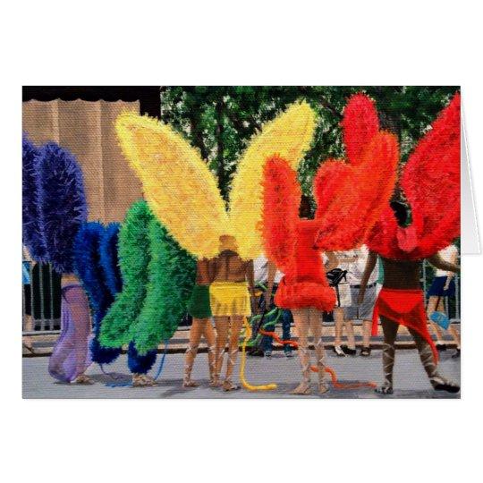 Hombres de la mariposa del arco iris tarjeta de felicitación