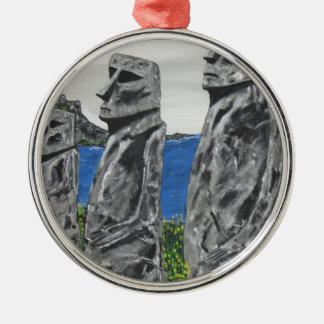 Hombres de la piedra de la isla de pascua adorno de cerámica
