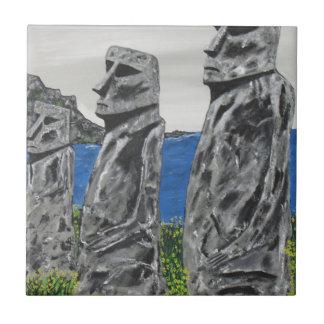 Hombres de la piedra de la isla de pascua azulejo de cerámica