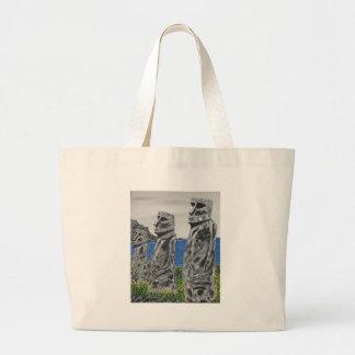 Hombres de la piedra de la isla de pascua bolso de tela gigante