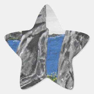 Hombres de la piedra de la isla de pascua pegatina en forma de estrella
