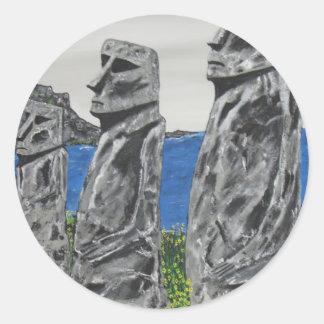 Hombres de la piedra de la isla de pascua pegatina redonda