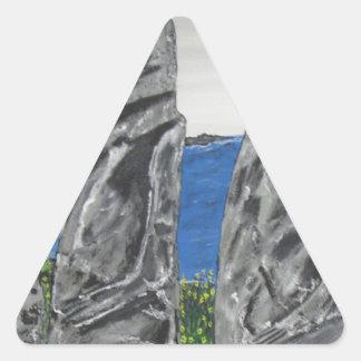 Hombres de la piedra de la isla de pascua pegatina triangular