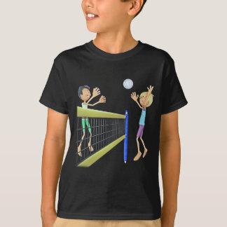 Hombres del dibujo animado que juegan a voleibol camiseta