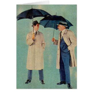 Hombres enojados del paraguas de la era de los tarjeta de felicitación