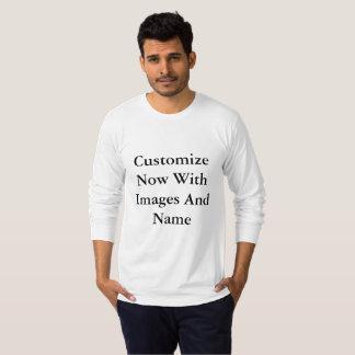 Hombres largos americanos de la manga camiseta
