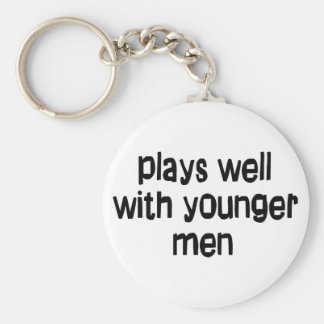 Hombres más jovenes llavero redondo tipo chapa