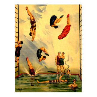 Hombres que se zambullen en el poster 1898 del cir tarjeta postal