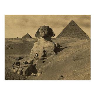 Hombres y camellos en la pata de la esfinge, postal