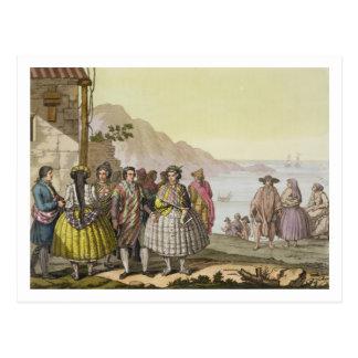 Hombres y mujeres en el traje elaborado, Chile, de Postal