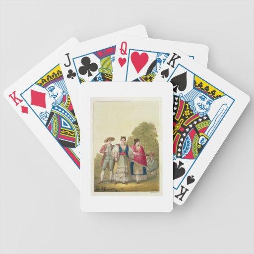 Hombres y mujeres peruanos en el traje tradicional baraja de cartas