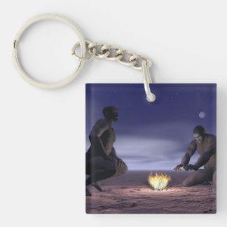 Homo erectus y fuego - 3D rinden Llavero