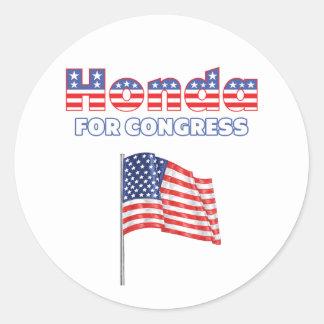 Honda para la bandera americana patriótica del con etiqueta
