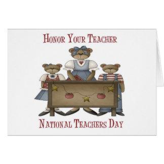 Honre su día nacional de los profesores del profes tarjeta