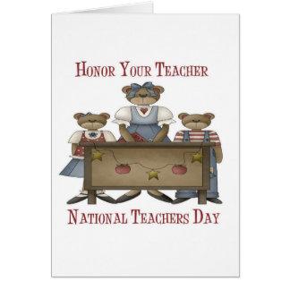Honre su día nacional de los profesores del profes tarjeta de felicitación