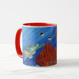 Honu y coral negro taza
