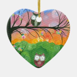 Hoolandia (c) 2013 - árboles de familia del búho adorno navideño de cerámica en forma de corazón
